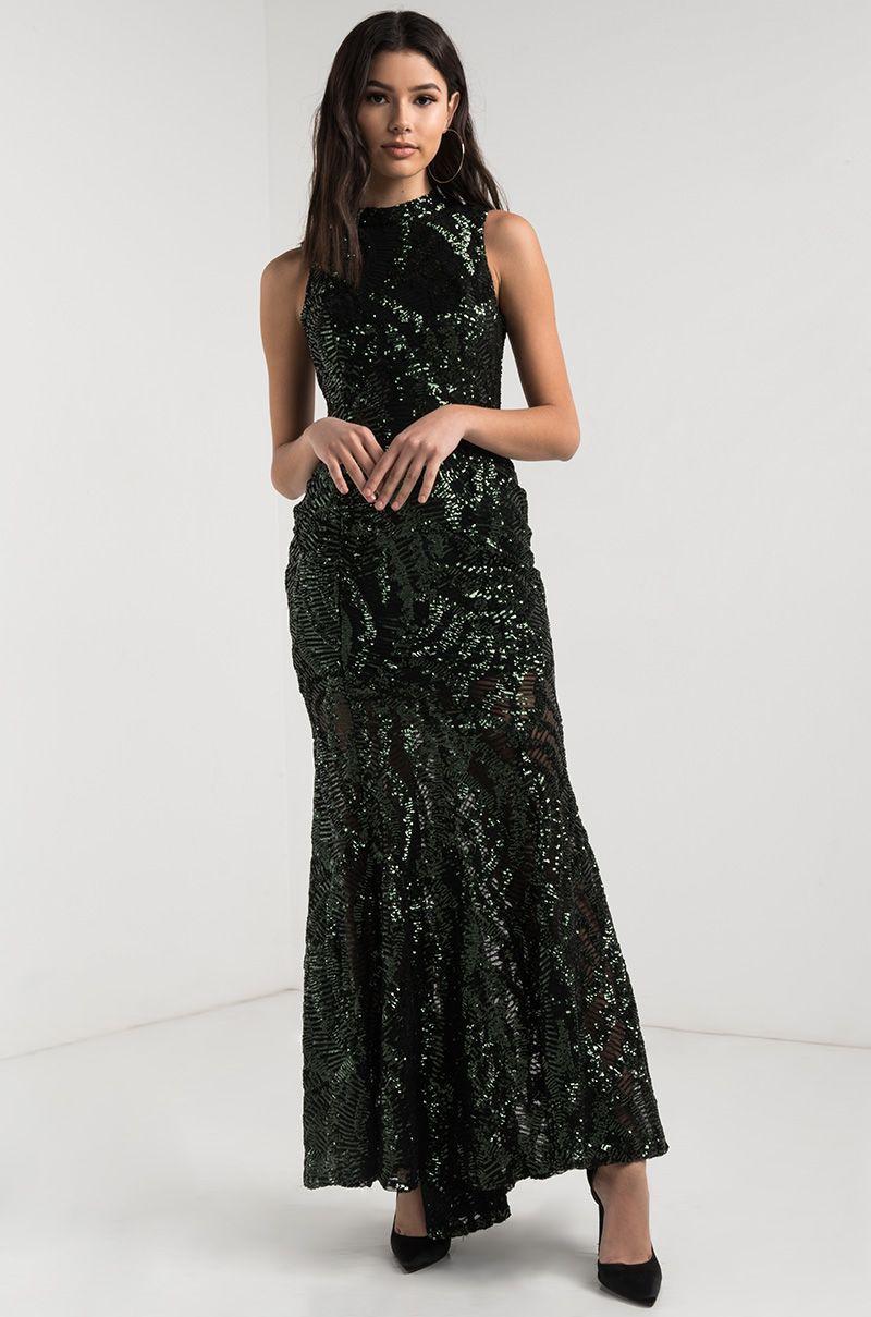 9d0f6194b3 AKIRA High Neck Sequin Mesh Zip Up Backless Sparkle Mermaid Maxi Dress in  Hunter Green