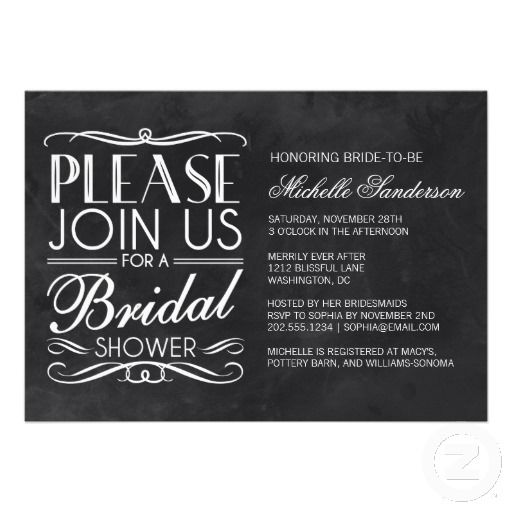 Vintage Chalkboard Bridal Shower Custom Announcements