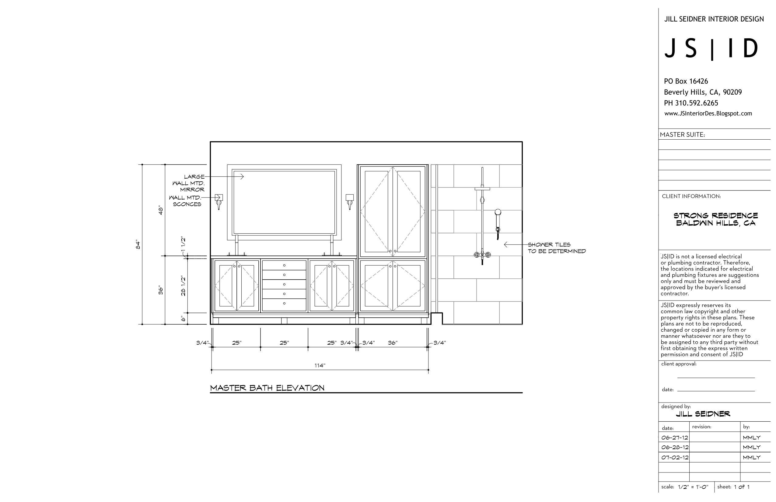 Baldwin Hills Ca Residence Master Bathroom Remodel Detailed Vanity Design Amp Shower Elevation