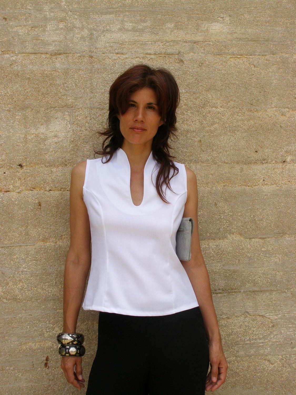 White Elegant Top Blouse-sleeveless Top-summer Top-tank Top-womens ...