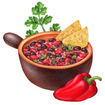 Bowl Of Black Bean Chili Illustration Food Illustrations Food Watercolor Food