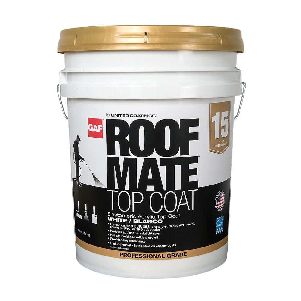 Best Gaf 5 Gal White Roof Mate Top Coat Reflective Roof 400 x 300