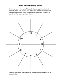 round the clock learning buddies template - Google Search