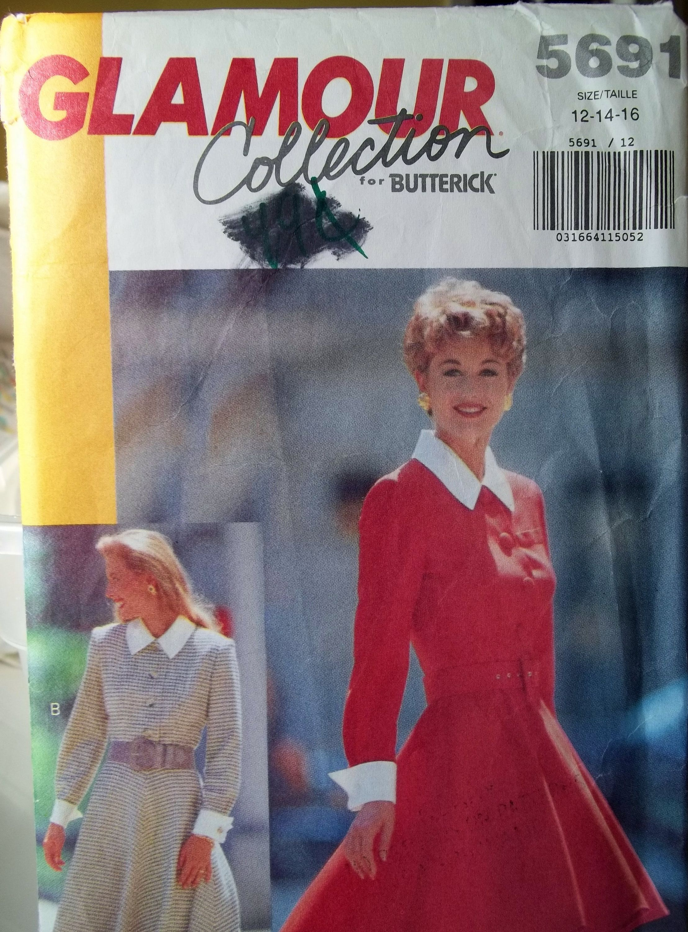 Misses' Fashion Dress Butterick 5691 Easy Sewing Pattern Collared Dress w/Flared Skirt, Back Zipper, French Button Cuffs  Size 12 - 16 UNCUT #flaredskirt