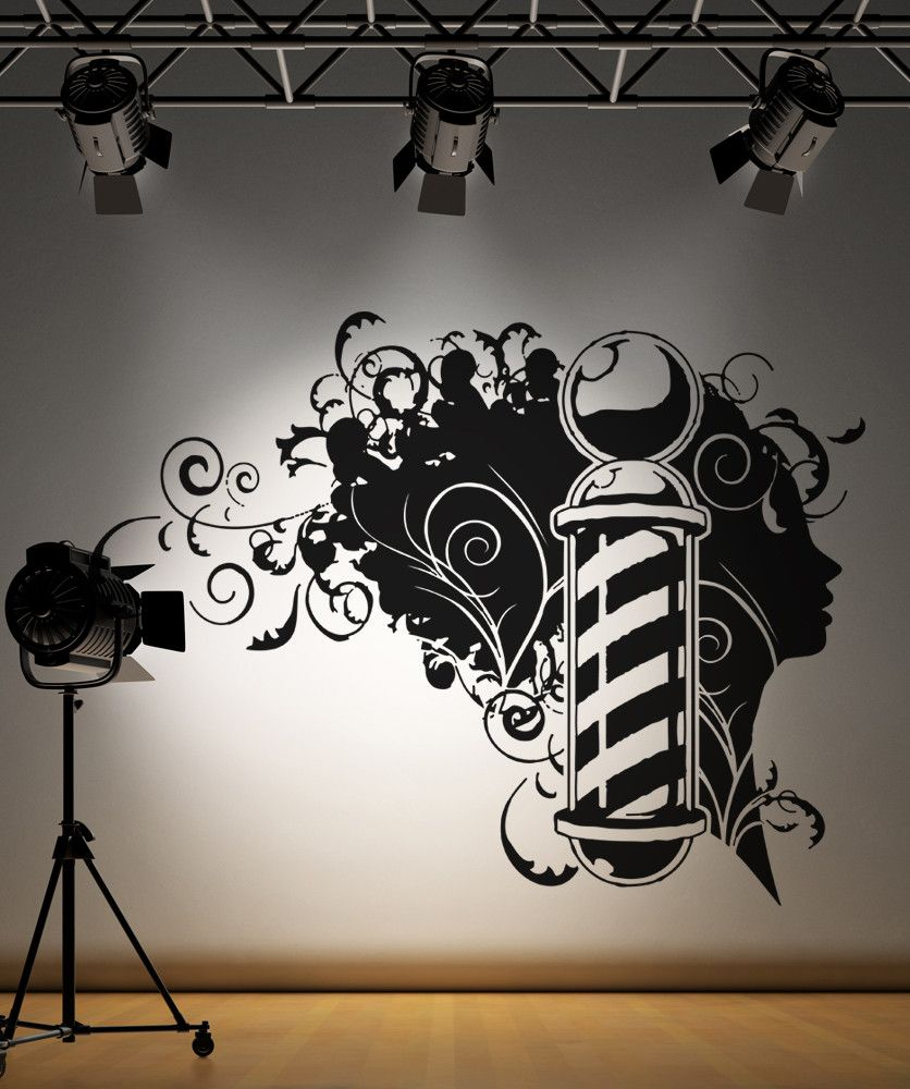 Vinyl wall decal sticker barbershop design os aa594 for Stickers salon design