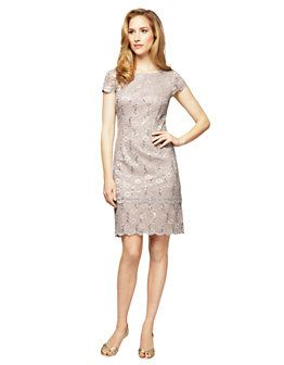 101b008e9b1df Sequined Lace Shift Dress | Lord and Taylor Alex Evenings, Scalloped Dress,  Lord &