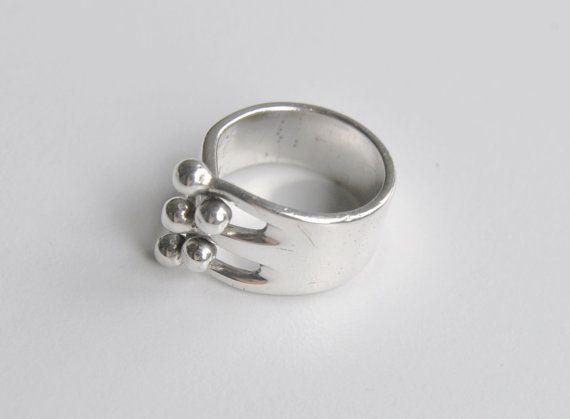 Anna Greta Eker Vintage Modernist Sterling Silver Five Ball Etsy Scandinavian Jewelry Vintage Sterling Silver Rings Modernist Jewelry
