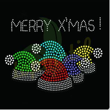 Christmas Minnie Santa Claus Hat Rhinestone Iron on Transfer Fix Bling Mouse