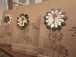 stamping + burlap ribbon + paper flowers + key/keyhold brads + typewriter inspiration