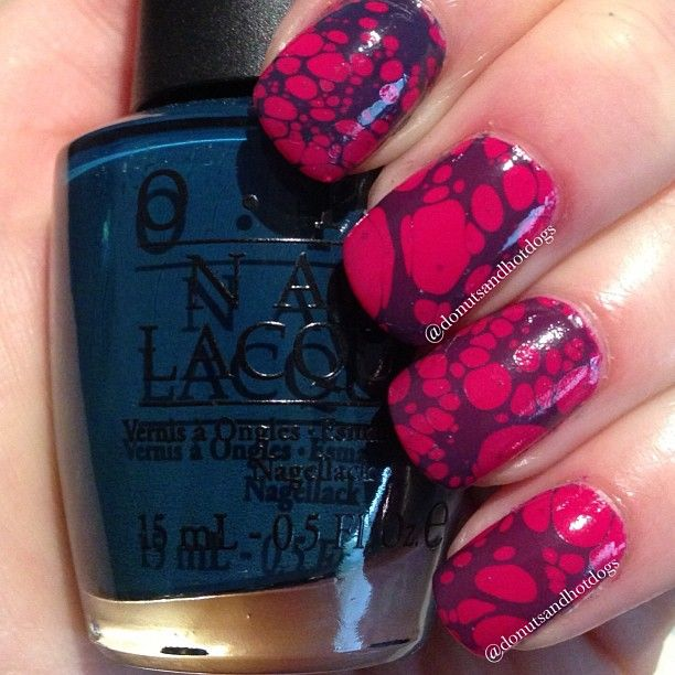 water spotted marble nail art