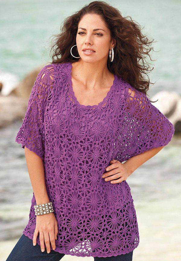 Plus Size Crochet Tunics | Blusas | Black crochet dress ...