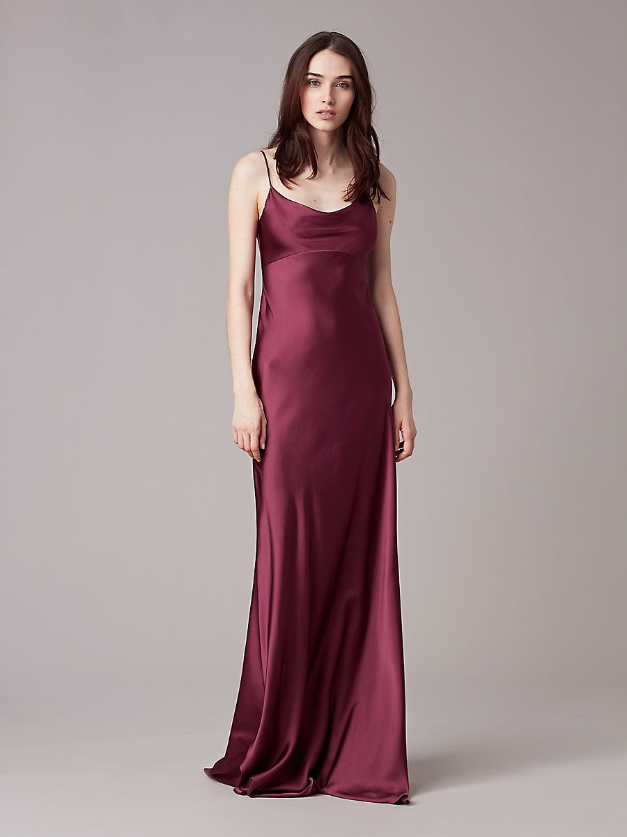ce38a7a8 ... burgundy gown has a soft satin finish and features spaghetti straps, a  cowl neckline, a seam under the bust, and a hidden zip and hook-and-eye  closure.