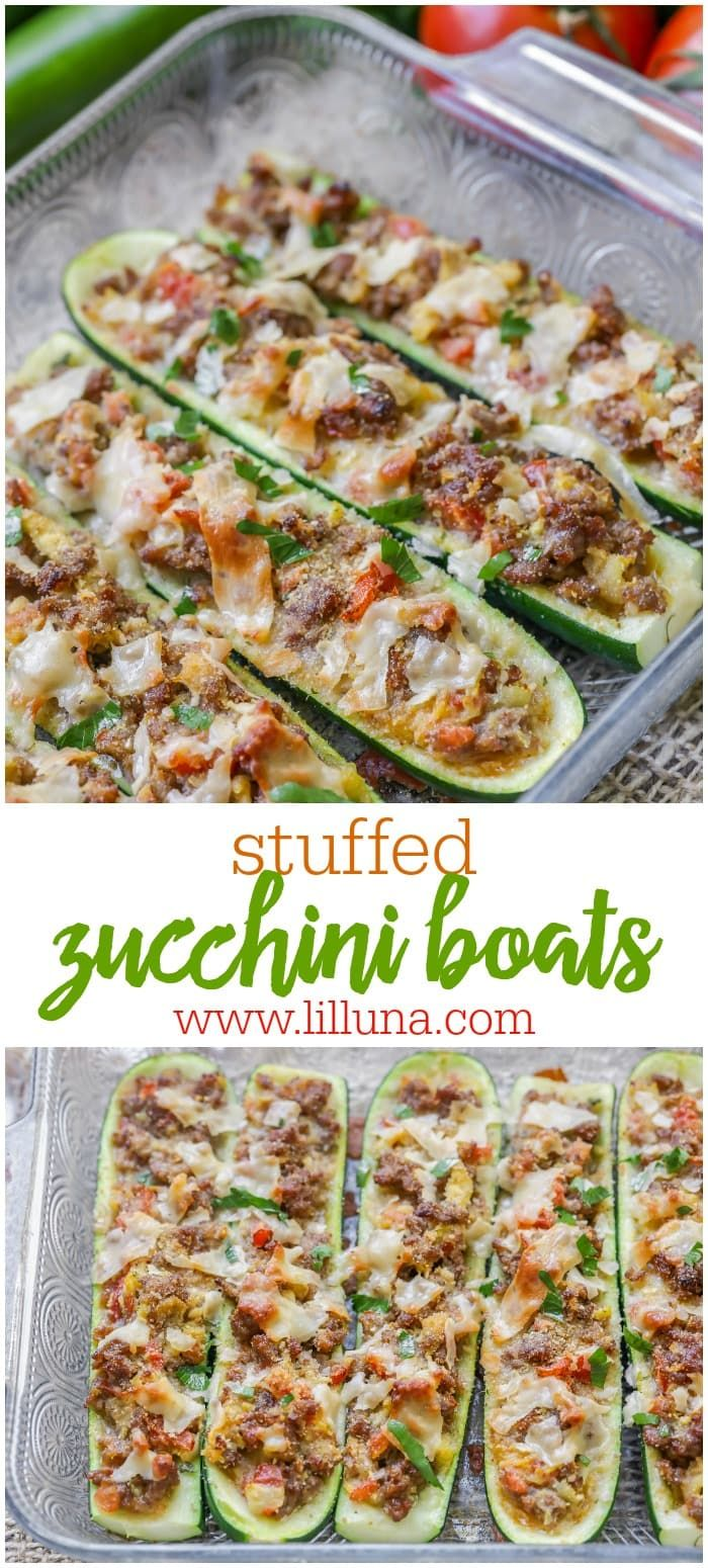 Stuffed Zucchini Boats filled with Italian sausage and tomatoes are a new goto healthy dinner idea Topped with cheese parsley and bread crumbs you cant go wrong with this...