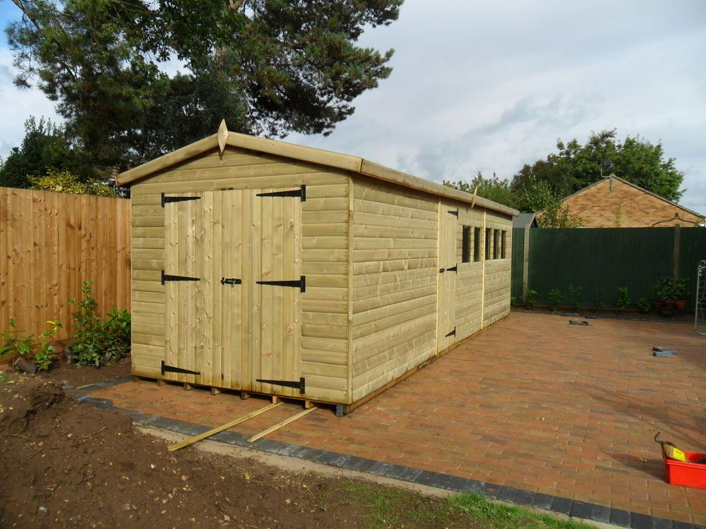 24 x 10 fully tanalised apex shed 3x2 cls 22mm loglap or 19mm shiplap workshop