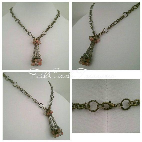 Cherry Quartz Necklace - Handmade Necklace - Handmade Pendant - Meditation Necklace - Meditation Jewelry - Vintage Bronze Necklace