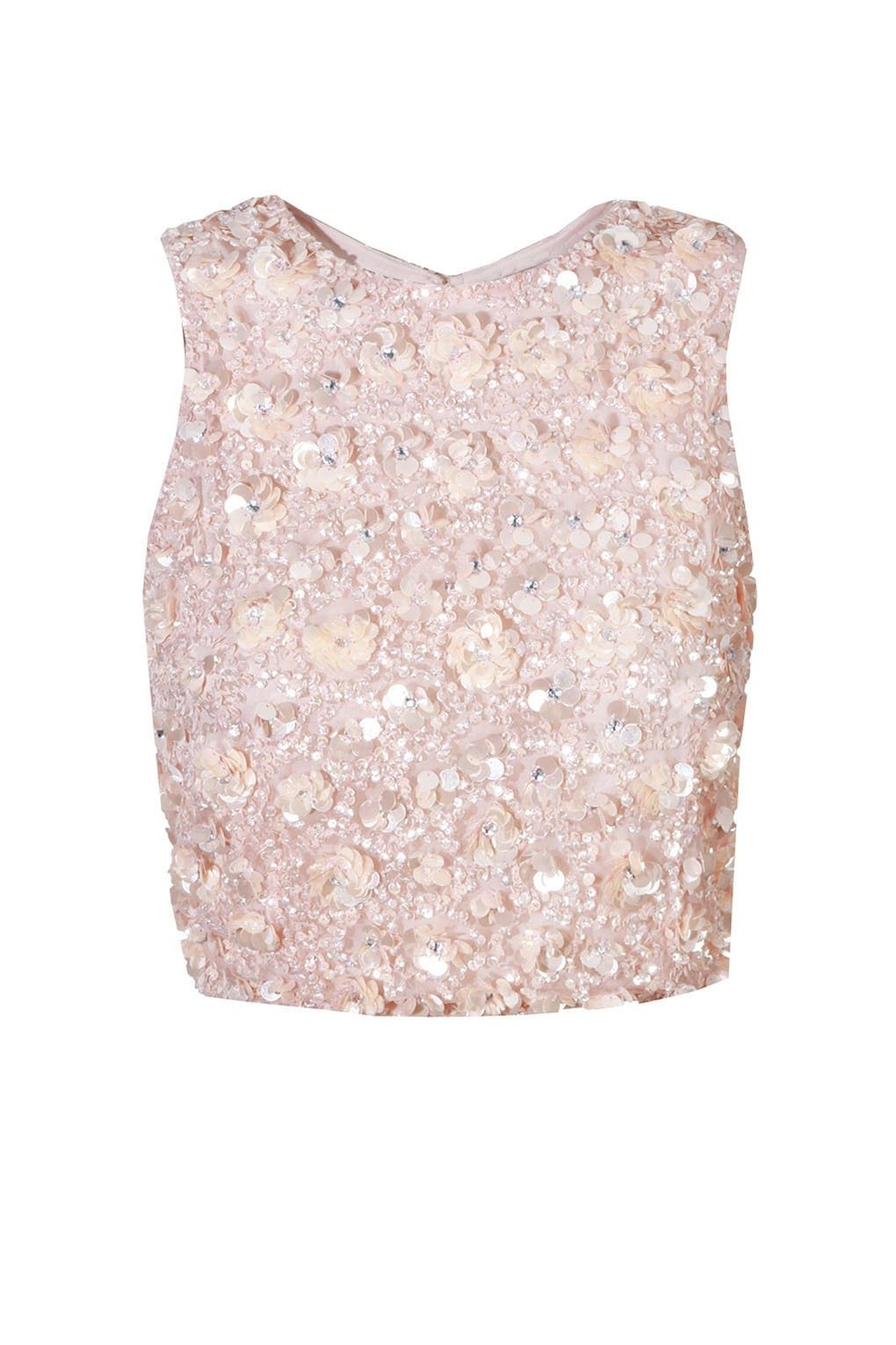 486554214a76d Lace   Beads Hazel Cut Out Pink Sequin Top