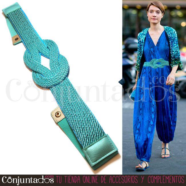 Esta vez te traemos un precioso  cinturón fajín de cordones de seda  verde-turquesa con nudo entrelazado ac0cde81c09b