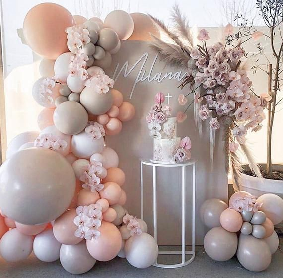 98pcs macaron peach gray Balloon Garland Arch Birthday Party | Etsy