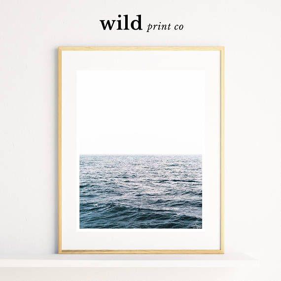 Ocean Prints, Simple Wall Art, Coastal Decor, Sea Photography, Blue ...