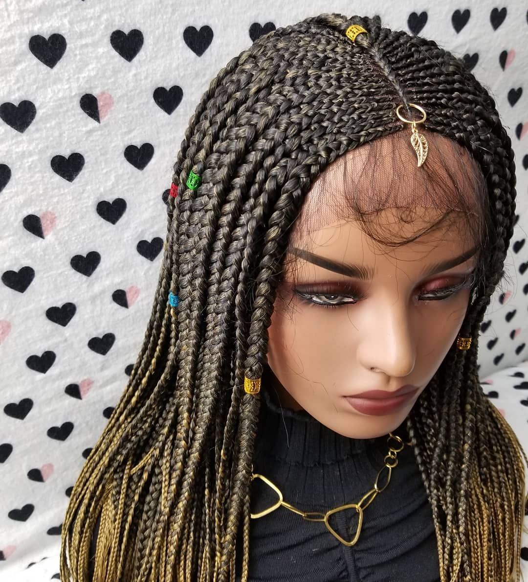 Cornrows Fulani Inspired Braided Lace Front Wig in Color