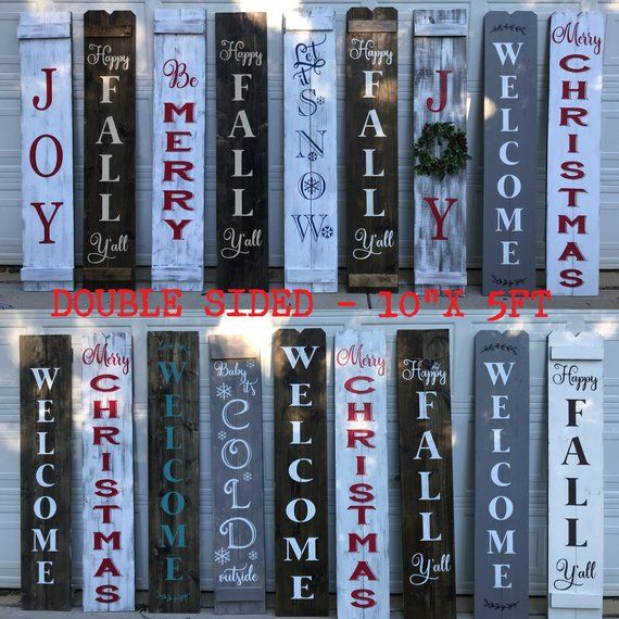 Porch sign, Welcome sign for front porch, Front Porch Sign, Double Sided Porch Sign, Christmas porch sign, Welcome Fall, Welcome Spring #sideporch