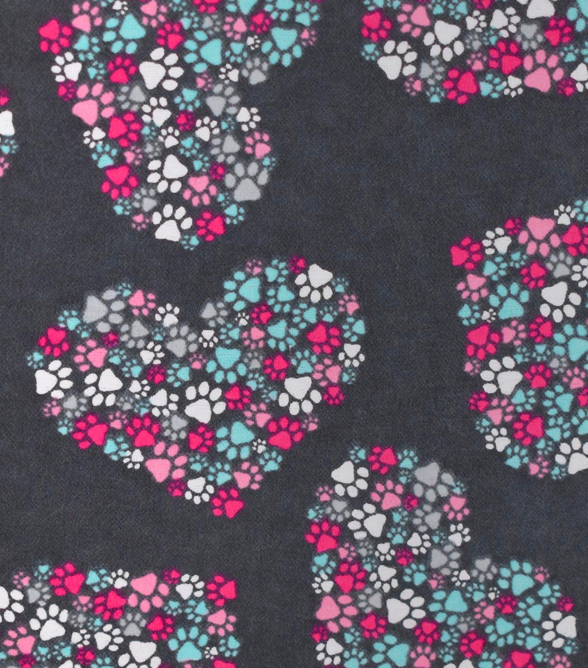 Paw Hearts Fabric By The Yard 100 Cotton Flannel Fabric Etsy Snuggle Fabric Flannel Fabric Fabric Hearts