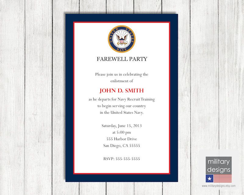 Navy Farewell Invitation US Navy Military By Militarydesigns