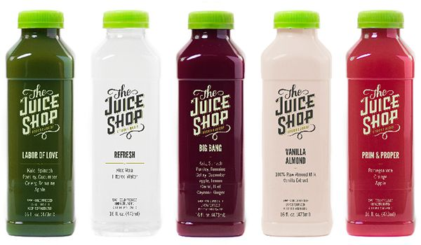 The Juice Shop - hand lettered typgrophic Juice Bottle Packaging - fresh blueprint cleanse hpp
