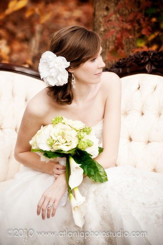 White bridal hair piece White flower bridal head by MirelaOlariu, $34.00
