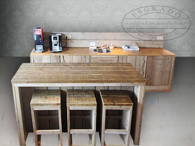 Steigerhout Bar Keuken : Steigerhout keuken met bar of kookeiland de keuken is voorzien