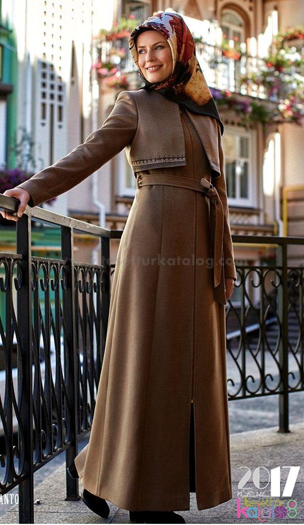 Kislik Uzun Manto Islami Giyim Kiyafet Kadin Giyim