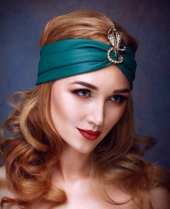 NAOMI Snake Green Headband Turban Eco Leather Headband Womens Headpiece  Hair Wrap Girls hair Accesso fe2fc85cce2