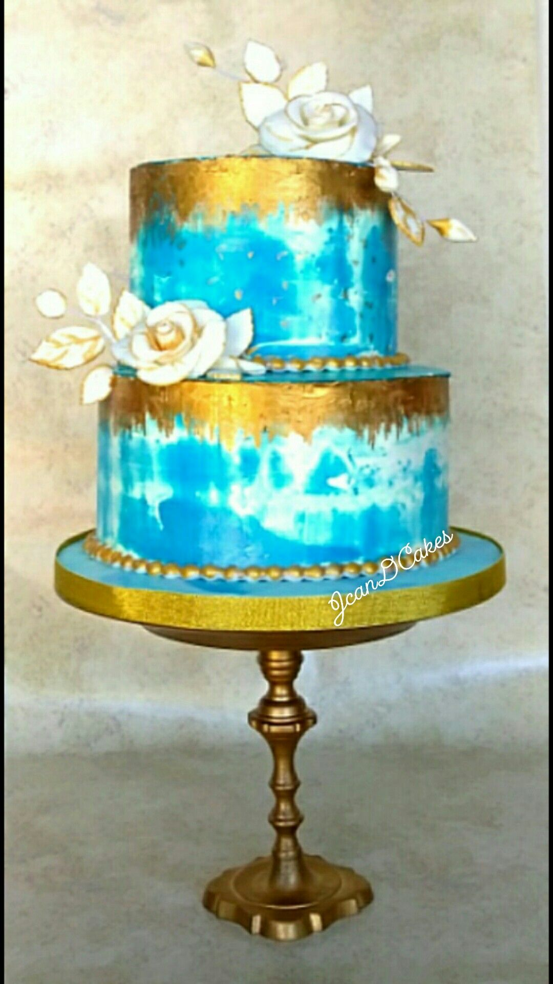 Blue And White Watercolor With Painted Gold With Images Cake