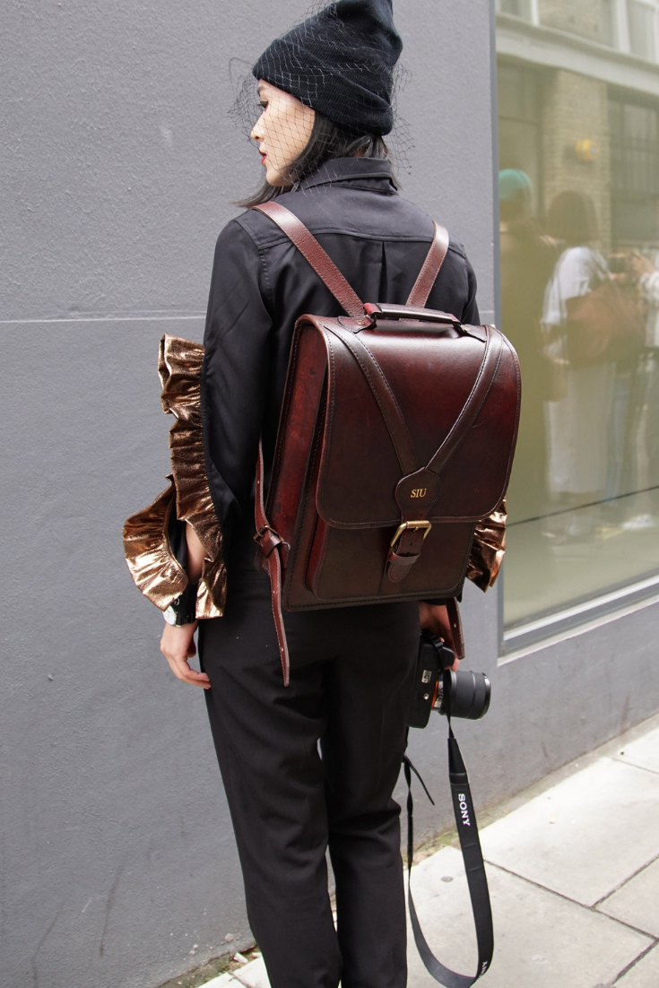 Men's Large Brown Structured Leather Backpack