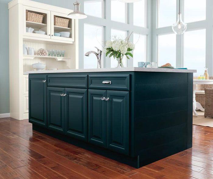 Apline White Glazed Cabinets With Blue Kitchen Island4 Kitchen Design Decor Blue Kitchen Island Interior Design Kitchen