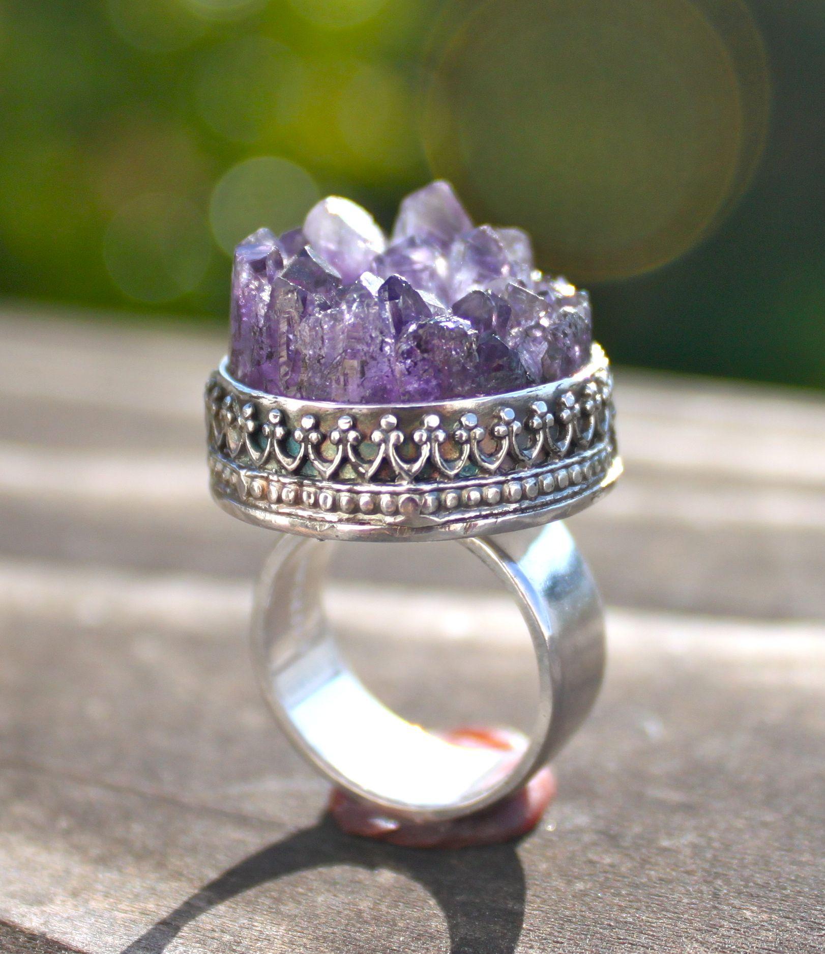 raw amethyst crystal ring on etsy Amethyst, Crystal