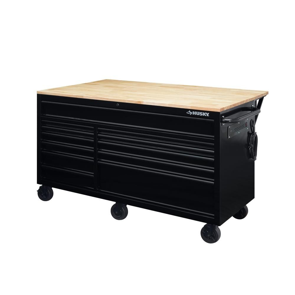 Husky 62 In 12 Drawer Mobile Workbench With Full Length Ext Table In All Blacked Out Hotc6212b11m The Home Depot In 2020 Mobile Workbench Tool Storage Workbench