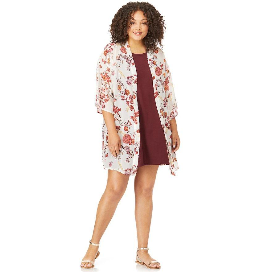 5c8fc608101 Juniors  Plus Size WallFlower Solid Swing Dress   Kimono Set
