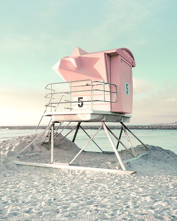 a229e64176c4 San Diego Photography Pink and Mint Green Lifeguard Tower