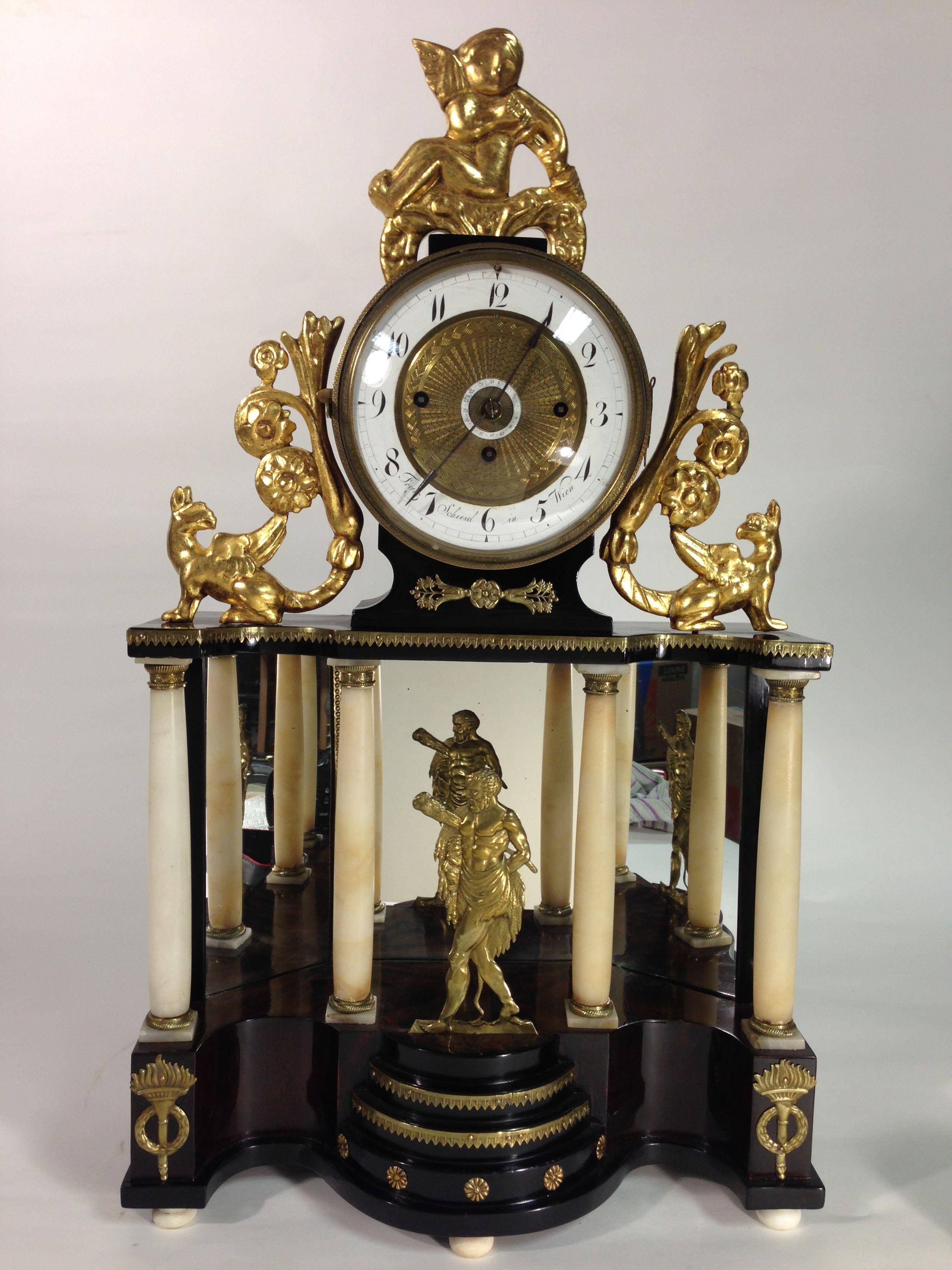 Biedermeier Mantel Clock 1 4 Hour Strike With Date Vienna