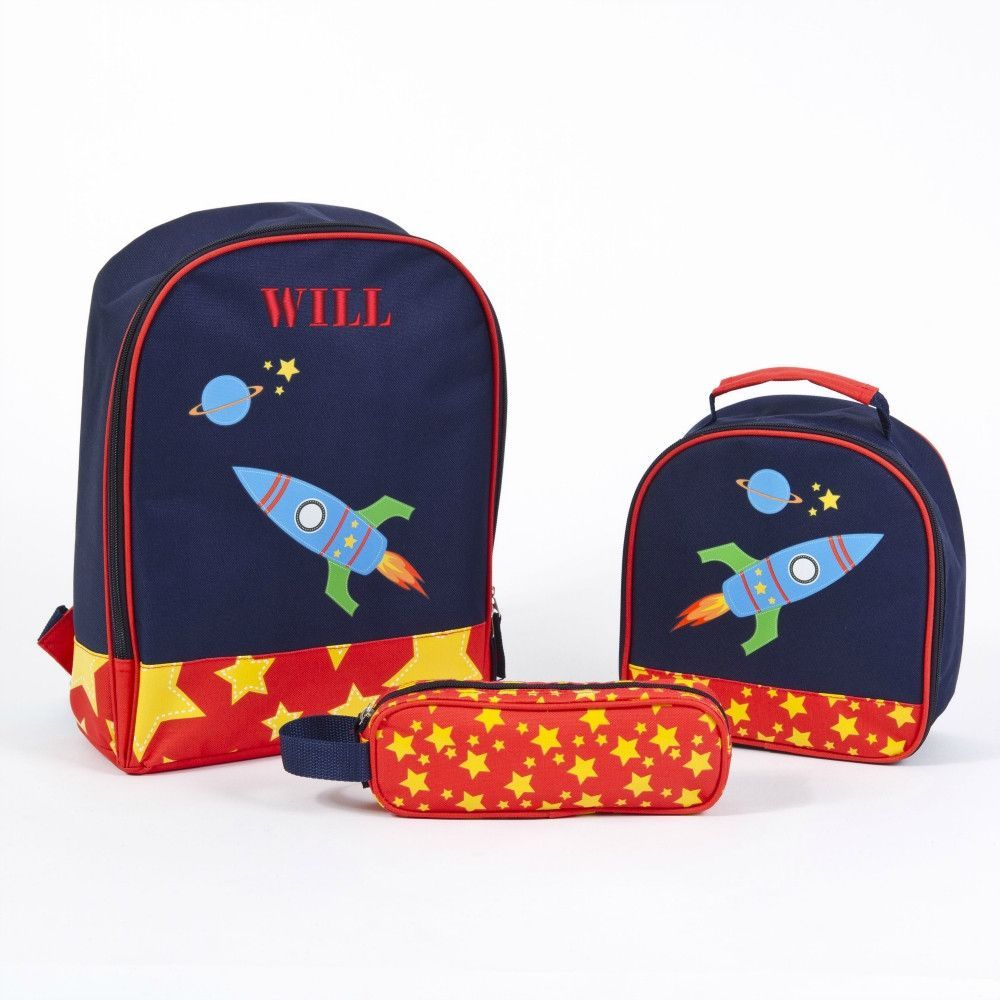 71afc476fa1a Personalized Rocket Ship Preschool Backpack Lunch Bag Matching Set ...