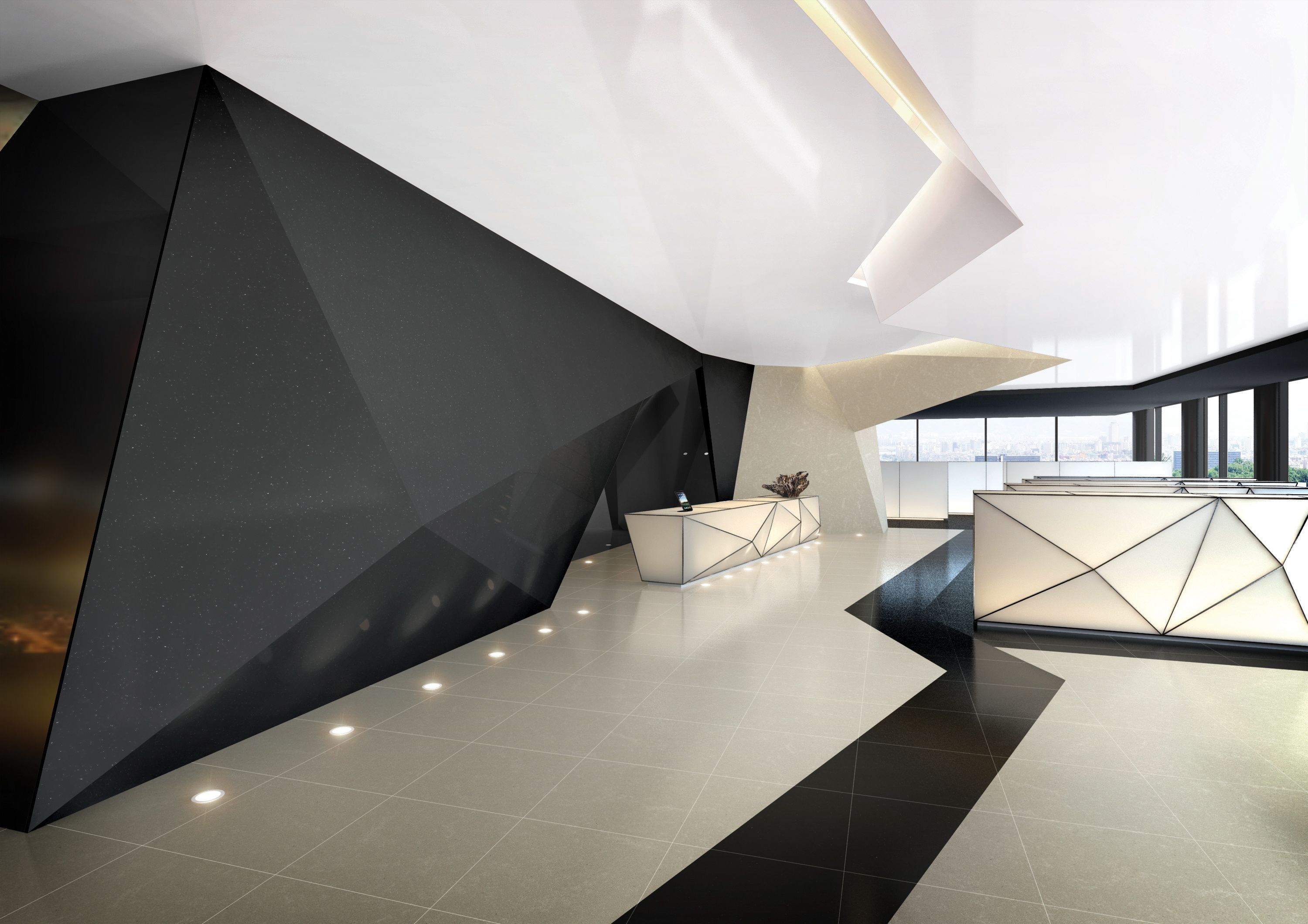 futuristic interior hi macs the geometric design used
