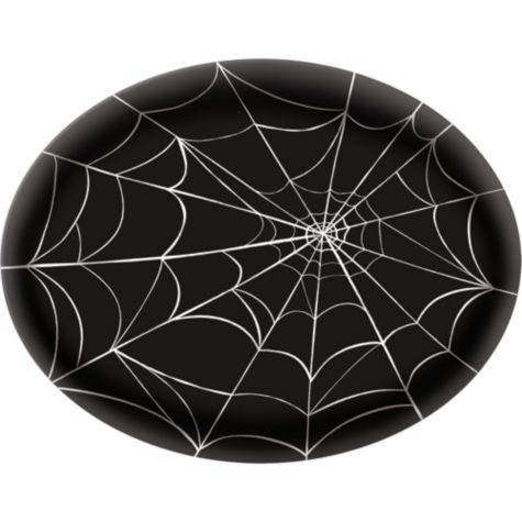 Spider Web Plastic Platter 13in - Party City Halloween Party - spider web decoration for halloween