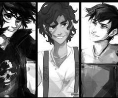 Nico, Leo, and Percy in Black and White. My three favorite male demigods
