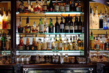 Back Bar Liquor Display | Back Bar Set Up With Liquor Shelves And Glassware.