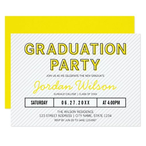 Modern stripes yellow graduation party invitation filmwisefo