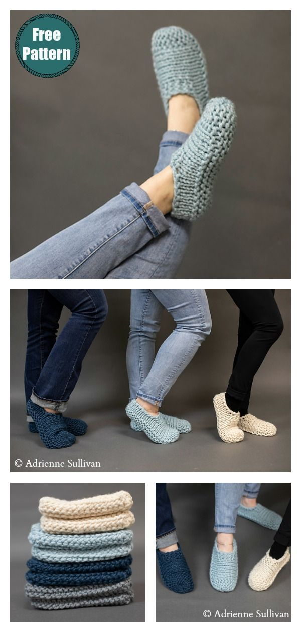 Easy Slippers Free Knitting Pattern