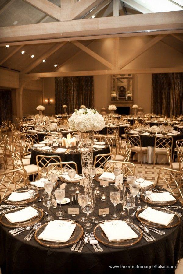 White hydrangea wedding arrangements clear tall glass