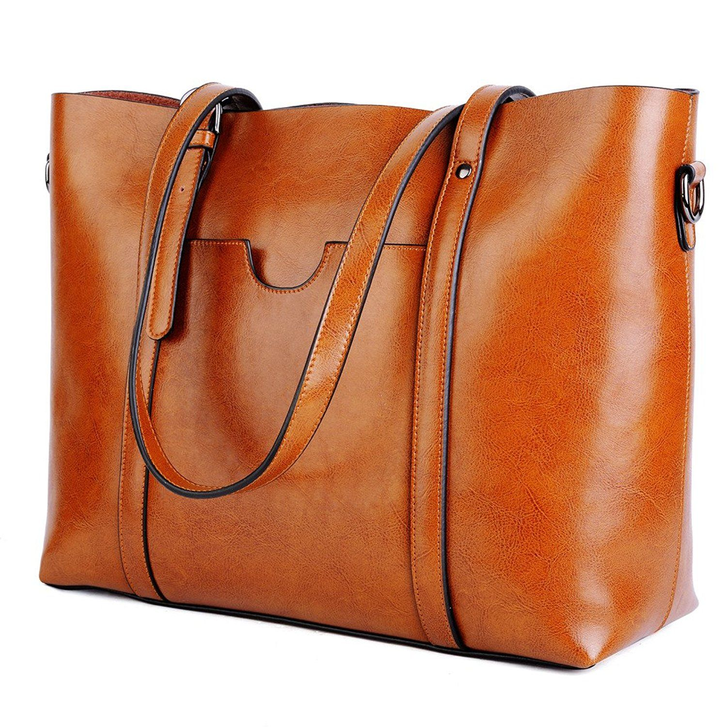 7fbdbd2aa0 Amazon.com  YALUXE Women s Vintage Style Soft Leather Work Tote Large Shoulder  Bag Brown
