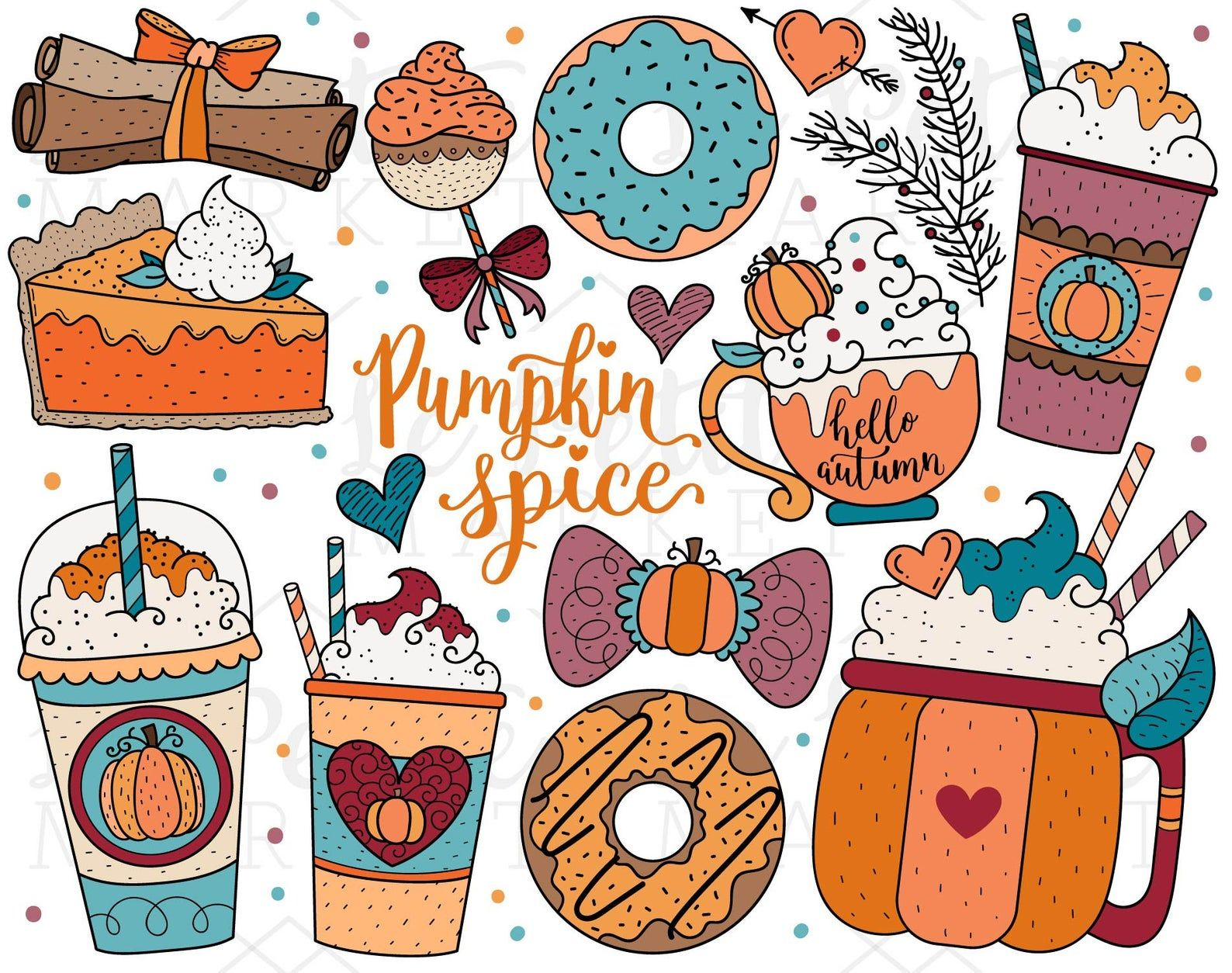 Pumpkin Spice Clipart Images Digital Stamps Autumn Clipart Etsy In 2021 Autumn Stickers Autumn Doodles Fall Wallpaper